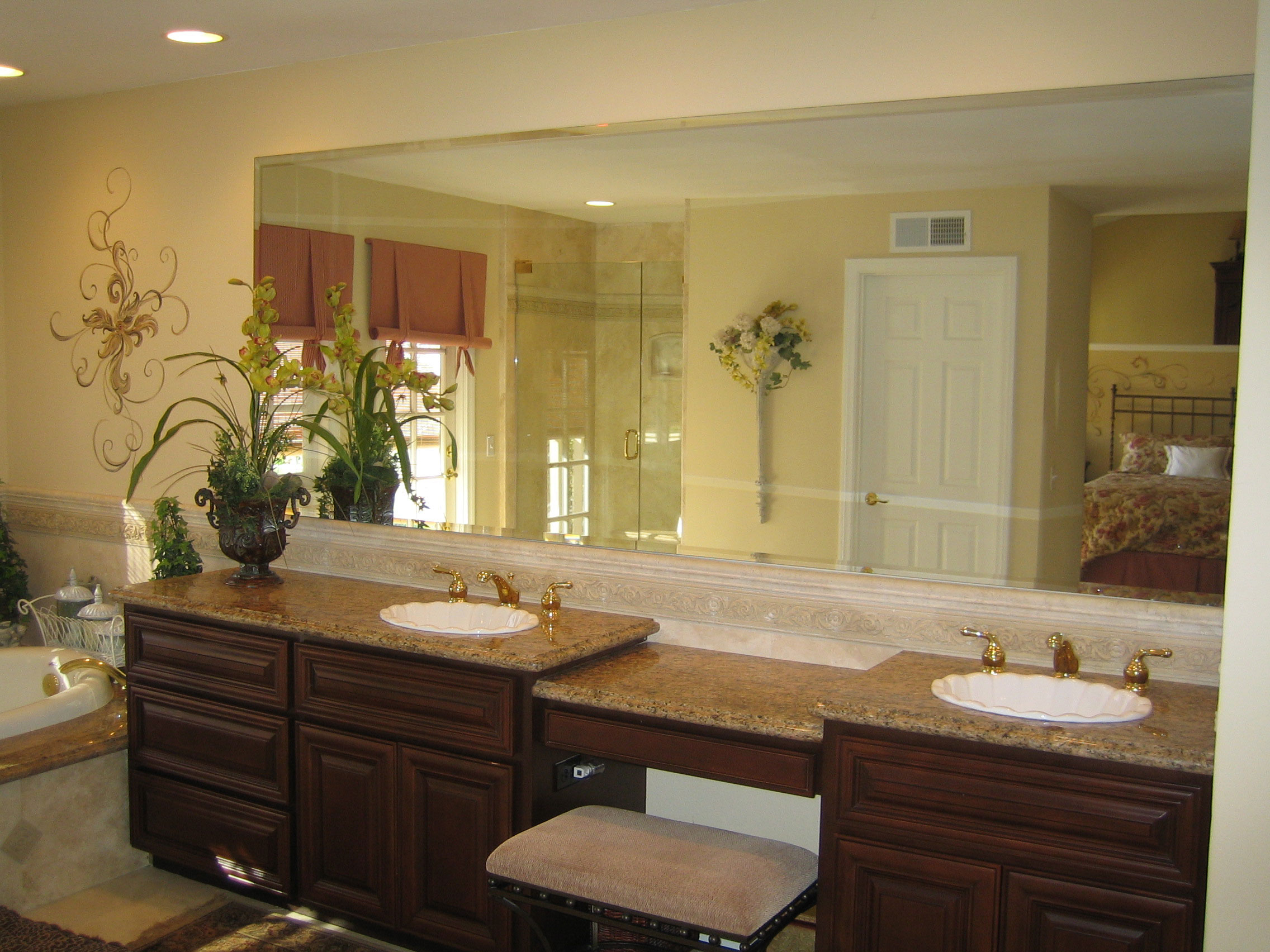 Custom mirrors glass and mirror pros for Custom bathroom vanity designs